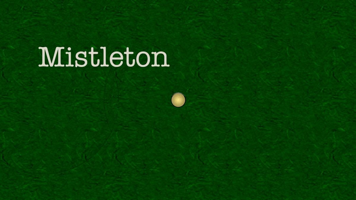 map of Mistleton with a bright yellow dot