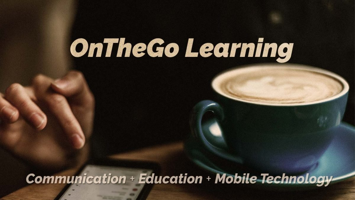 Woman learning on the go with her mobile device at the coffee shop. On the go learning. Communication + Education + Mobile Technology.
