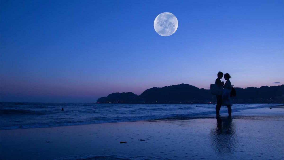 A couple standing on the beach under the light of a full moon.